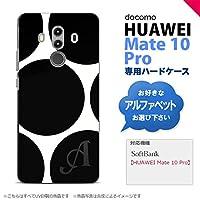 HUAWEI Mate 10 Pro(ファーウェイ メイト 10 Pro) スマホケース カバー ハードケース 水玉B 白×黒 イニシャル対応 N nk-m10p-1114ini-n