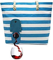 PortoVino Beach Tote - Wine Handbag with Hidden, Insulated Compartment, Holds 2 Bottles of Wine! (Turquoise &a