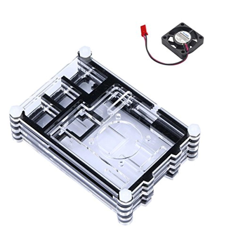音十適合するREES52 Raspberry Pi 3 アクリルケース 冷却ファン付き RPI 3 シェル ミニファン付き Raspberry Pi 2