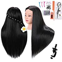 IBLUES 24 Mannequin Head with 60% Human Hair Hairdresser Training Head Practice Manikin Head Cosmetology Doll Head with Clamp (Black) [並行輸入品]