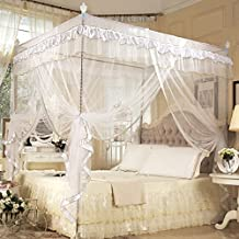 Four Corner Post Bed Canopy Curtain Mosquito Net Bedroom Nursery Room Princess Style Netting Bedding Cute Decoration, White(1.5mx2m)