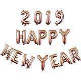 ACHICOO バルーンセット 16インチ 新年 2019 happy new year 家 装飾 バルーン 風船 アルミ箔 おしゃれ ローズゴールド