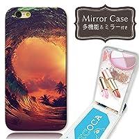 301-sanmaruichi- iPhone8Plus ケース iPhone8Plus ケース ミラーケース 鏡付き ミラー付き カード収納 おしゃれ 夕焼け ハワイ サンセット ビーチ 海 波 サーフ ヤシの木 パームツリー