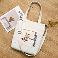 Student Tote Bag, Female Rabbit Embroidery High Capacity Canvas Shoulder Bag Light File Handbag (White) Polykor