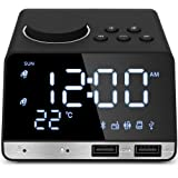 Hetyre 4.2 Inch Alarm Clock Radio, Bluetooth Speaker with Dual Snooze Clock USB Charging Port, AUX TF Card Play, Thermometer,