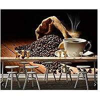Mrlwyコーヒー木材板カップ穀物蒸気食品3d壁紙壁画用リビングルームテレビソファキッチンレストランカフェバー350×250センチ