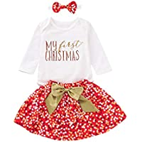 MILWAY Baby Girls My 1st Christmas Outfits Long Sleeve Romper + Dot Bubble Skirt Sets + Leg Warmer + Headband