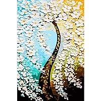 LovetheFamily [オピニオン]抽象的な発財樹 数字油絵 数字キット塗り絵 手塗り DIY絵 デジタル油絵 ホーム オフィス装飾 40x50cm (フレームレス)