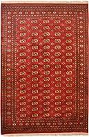 伝統的なBokara Collection エリアラグ 赤 伝統的 手結び ラグ リビングルーム用 ダイニングルーム 寝室 フロアカーペット ホームデコレーション 9x6 レッド