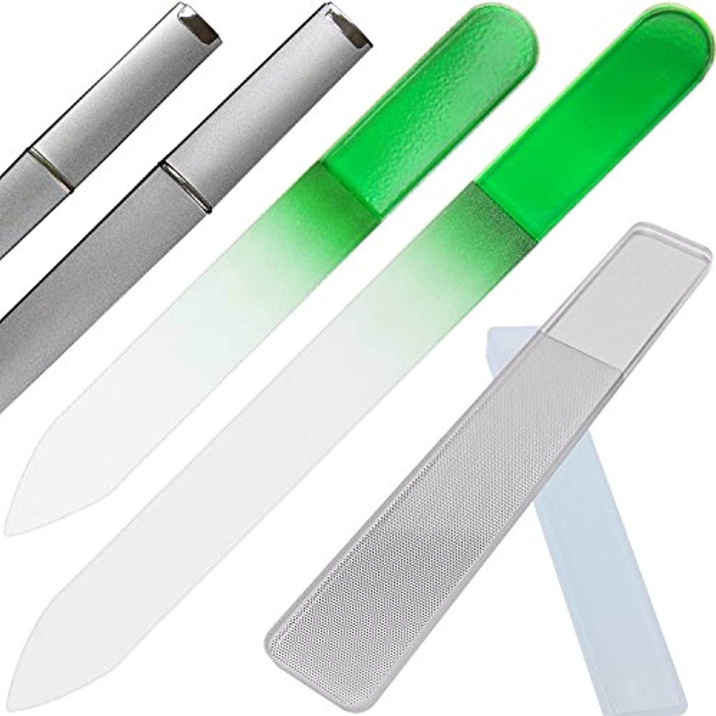 うるさい影のあるタウポ湖Clarente 爪やすり 爪磨き ガラス製 専用 ケース付 4点セット ネイル ケア