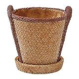 SPICE OF LIFE(スパイス) 植木鉢 編みかごプランター ラウンド ブラウン Lサイズ 幅12.5cm 奥行11.5cm 高さ12.5cm CBGZ1033BR