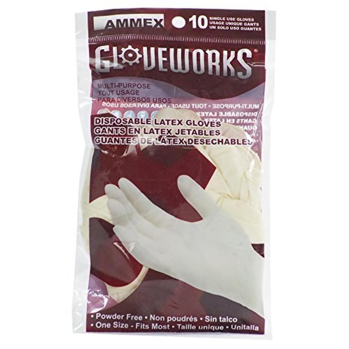 分散芽ヘッドレスAMMEX - GWL10PK - Latex Gloves - Gloveworks - 10/pack Disposable Powder Free 4 mil Uni-size White (Case of 250) [並行輸入品]