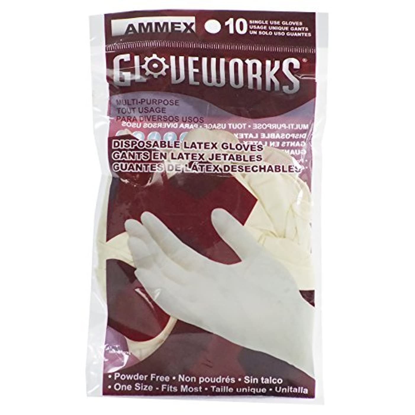 賢明な黒板財団AMMEX - GWL10PK - Latex Gloves - Gloveworks - 10/pack Disposable Powder Free 4 mil Uni-size White (Case of 250...