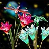 Anpro 2 PCS Solar Garden Lights Outdoor, Garden Decor with 6 Lily Flower and Butterflies Combination Decorative Lights Multi-