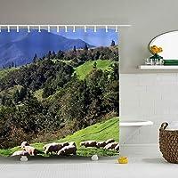 布製シャワーカーテンライナー フック付き 羊 防カビ 防水 ストール バスタブカーテンセット バスルームの装飾用