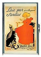 ビンテージ フランス ステンレススチール製 IDケース シガレットケース (キングサイズまたは100mm) ミルク広告 猫