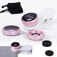ONX3 HTC One E9 / HTC One E9+ (Pink) 携帯電話ユニバーサルカメラレンズ3 in 1キット広角レンズ+魚眼レンズ+マクロレンズ(クリップオン180度、AndroidおよびiOS機器用)