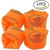 アームリング アームヘルパー シュノーケリング 大人(90kg以下) 幼児 子供用浮輪 水泳用品 腕輪 オレンジ 4個セット