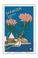 バミューダ オレアンダー時代 - ビンテージな世界旅行のポスター によって作成された アドルフ・トレイドラー c.1952 - アートポスター - 31cm x 46cm