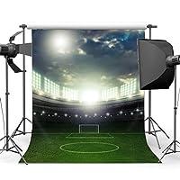 gladbuy 5x 7ft Football Field BackdropステージライトグリーンGrassサンシャインブルースカイホワイトクラウドスポーツ一致ビニール写真背景子供子供大人フォトスタジオ小道具xm607