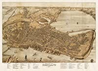 (80cm x 60cm) - Historic Map Bird's eye view of the city of Portland, Maine, 1876 Antique Vintage Reproduction