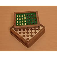 Chessbazaar Traveling Magnetic Chess Set 5 X 5 Inches With Drawer Fitted Pieces