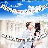JINSELF 結婚フラッグガーランド 2組セット バナー 結婚式 パーティー お祝い 飾り付け 飾り 装飾 インテリア 【JUST MARRIED/HAPPY WEDDING】
