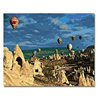 ウォールアートピクチャーアクリルは、ホームデコレーションのために絵画の数字、40×50センチナンバーキット美しい気球図DIY塗装により、