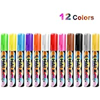 Umiwe Chalk Markers, Erasable 12 Pcs Chalkboard Coloured Liquid Marker Pens for Kids Children Birthday Gifts