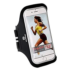 MUSON(ムソン) [メーカー直販/1年保証付] スポーツ アームバンド ケース 軽量薄型 ランニング アームバンド ケース 防滴/防水/調節可能 Xperia/ iPhone 6/iPhone 6 Plus/ iPhone 6s/iPhone 6s Plus/ など最大5.5インチのスマホに対応 ブラック