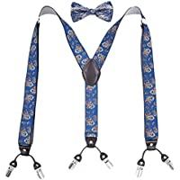 MENDENG Classic 6 Clips Suspender Bow Tie Set Paisley Adjustable Braces