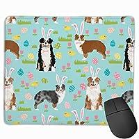 オーストラリアンシェパードオーストラリア犬イースターかわいい春パステル犬デザイン - ブルーマウスパッド 25 x 30 cm