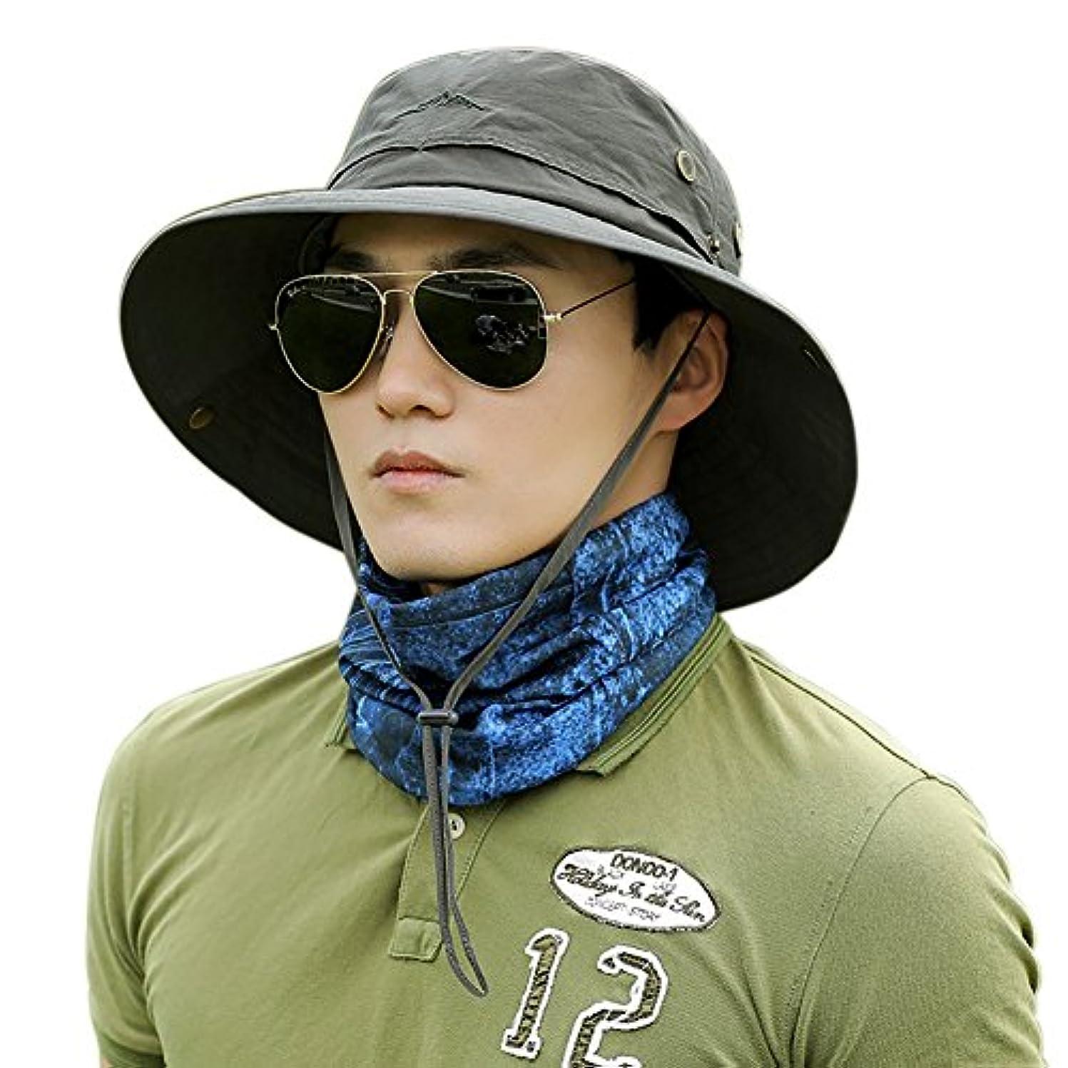 防腐剤補う配るWodery つば広 折りたたみ 日除け キャンプ 帽子 サファリハット UVカット 率 99.9% 以上 UPF50+ サーフハット ひも付き ユニセックス アウトドア ハイキング 登山 釣り フィッシング ハット