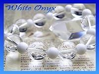 パワーストーン ホワイトオニキス&水晶デザインブレスレット