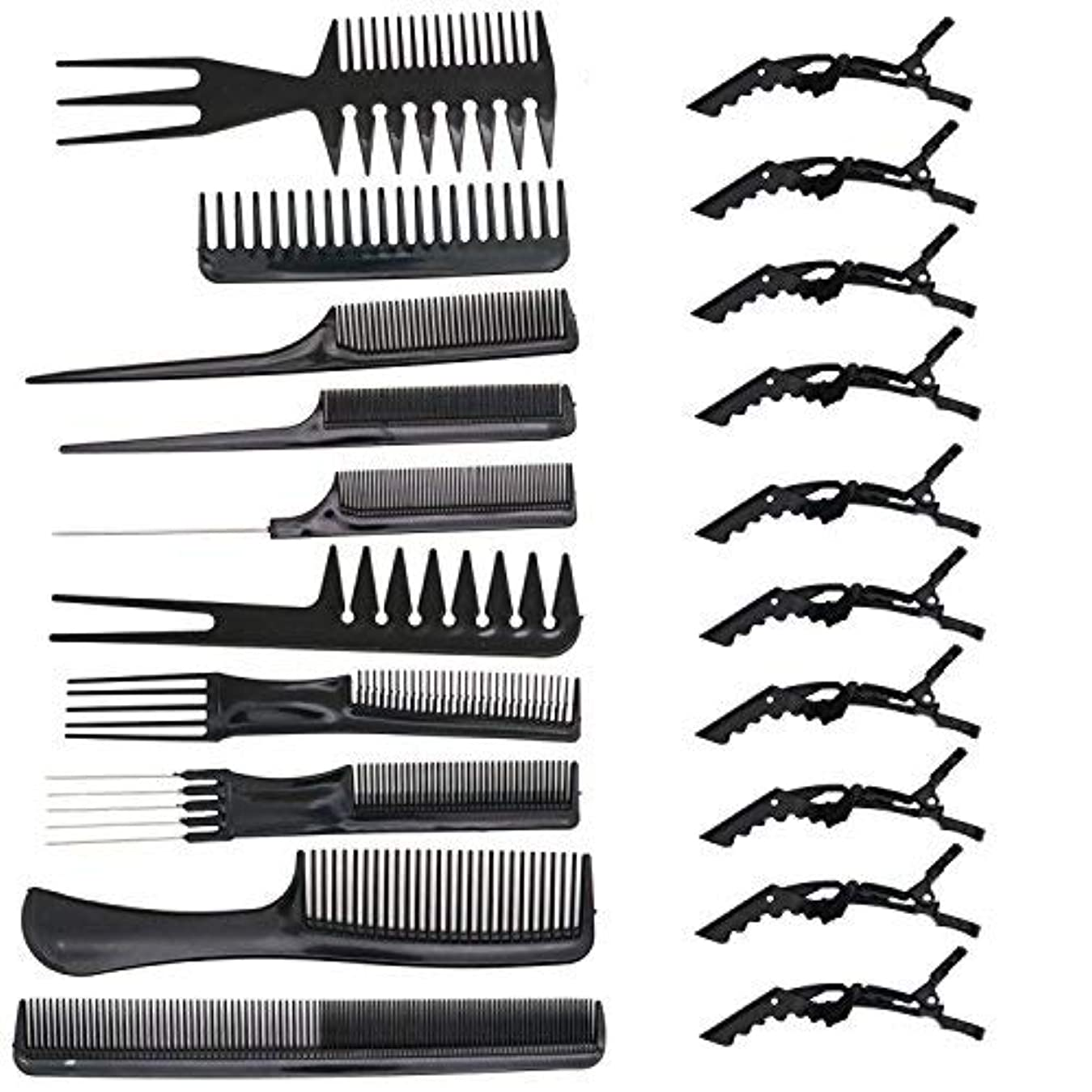 消す進む拒否HUELE 10 Pcs Professional Hair Styling Comb with Styling Clips Hair Salon Styling Barbers Set Kit [並行輸入品]