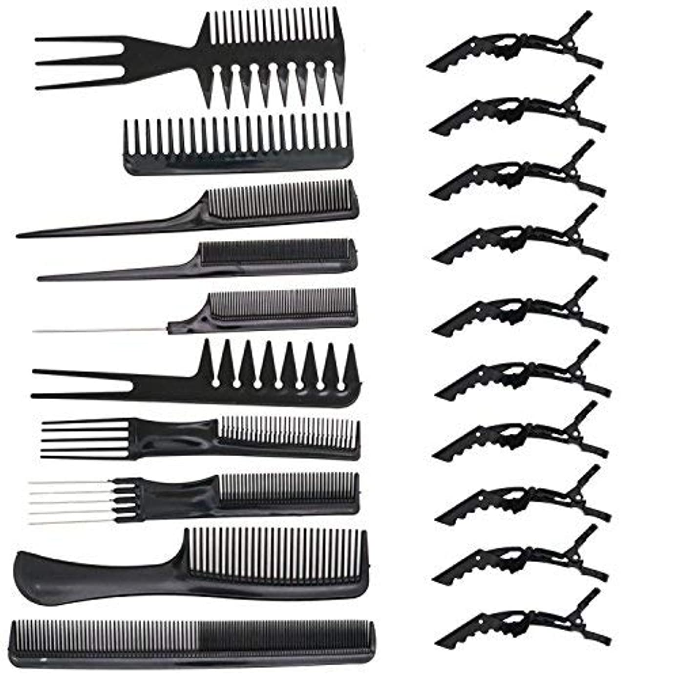 自治的見習い取り消すHUELE 10 Pcs Professional Hair Styling Comb with Styling Clips Hair Salon Styling Barbers Set Kit [並行輸入品]