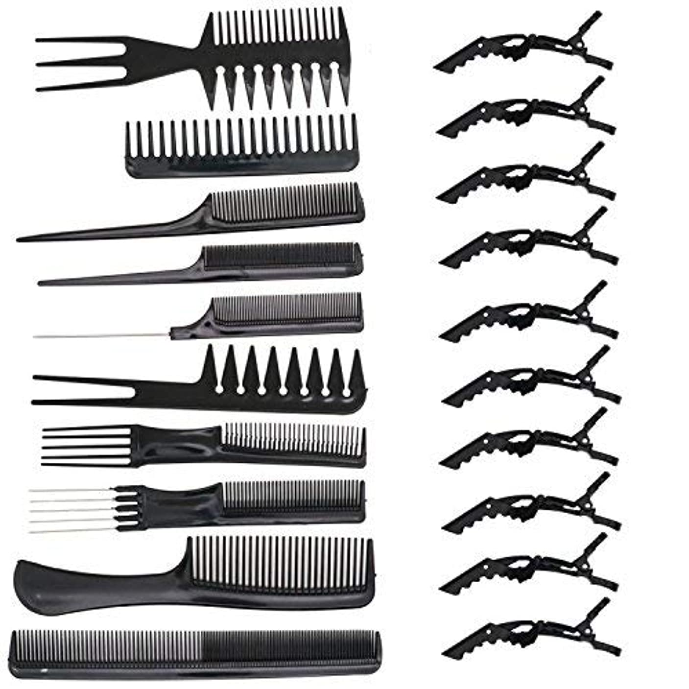 ディレイハリケーン永続HUELE 10 Pcs Professional Hair Styling Comb with Styling Clips Hair Salon Styling Barbers Set Kit [並行輸入品]