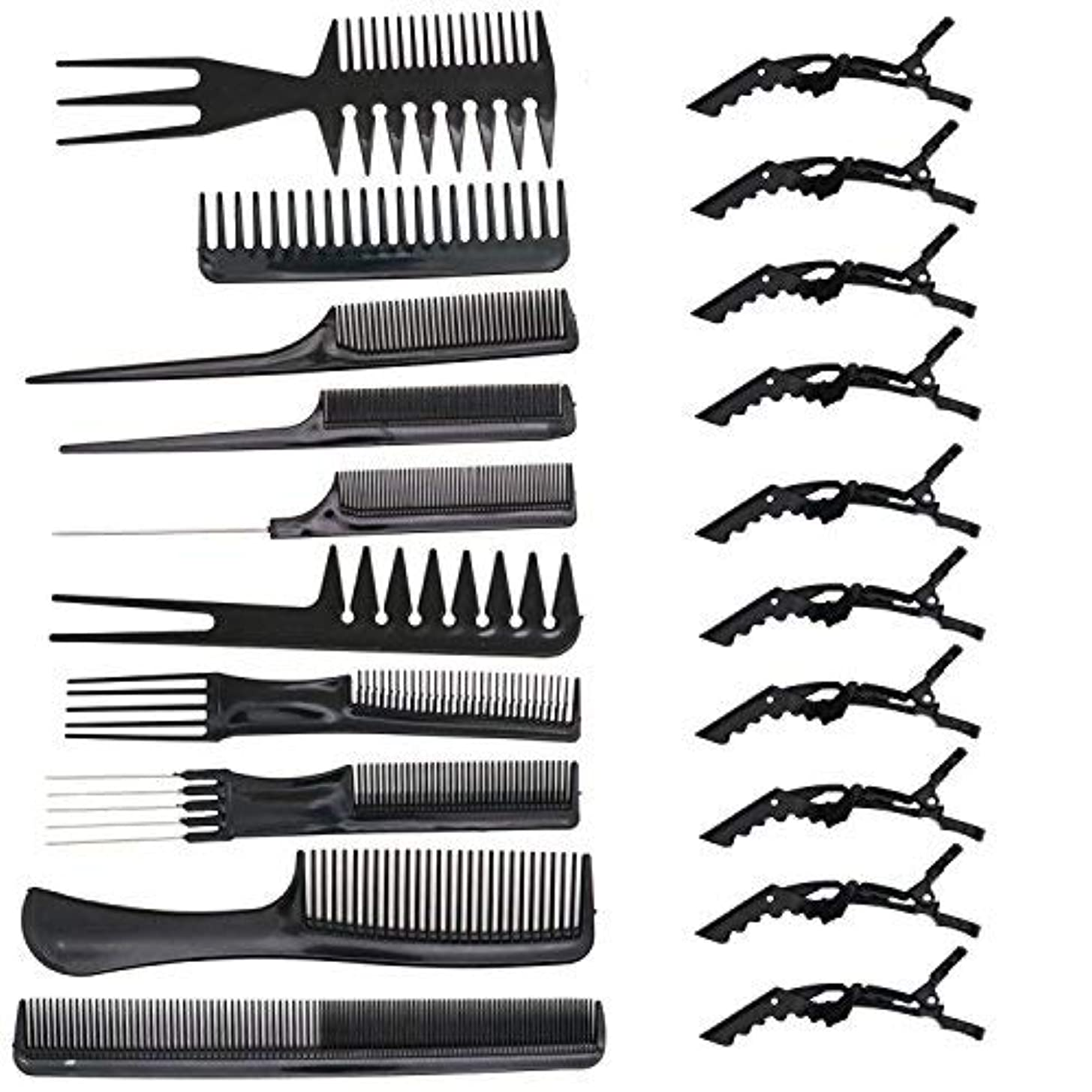 バンドバイナリ北米HUELE 10 Pcs Professional Hair Styling Comb with Styling Clips Hair Salon Styling Barbers Set Kit [並行輸入品]