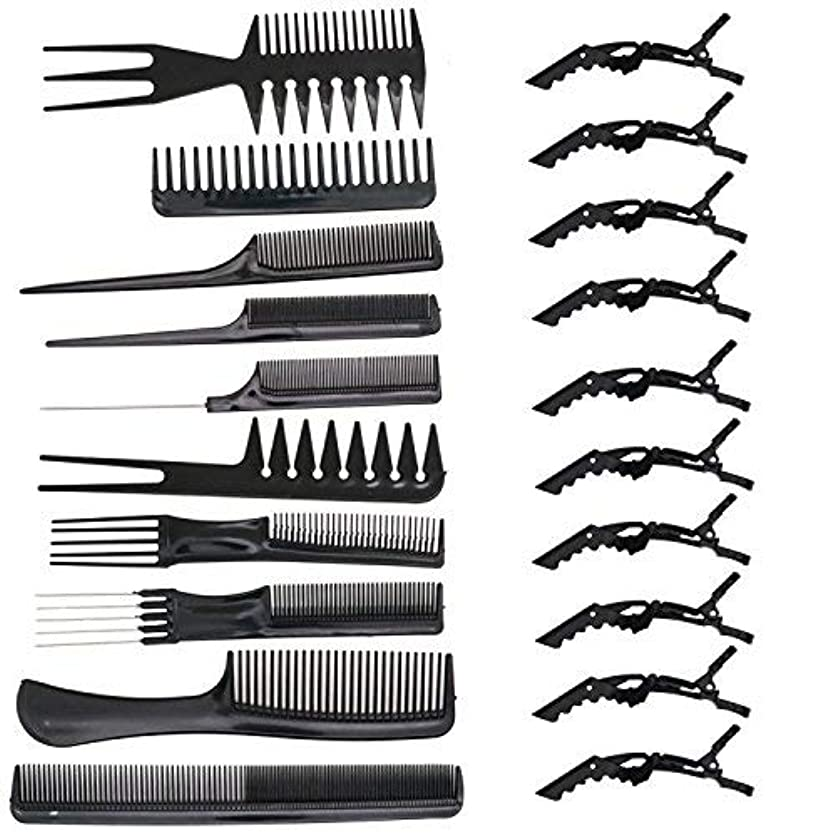 急襲どきどき苦行HUELE 10 Pcs Professional Hair Styling Comb with Styling Clips Hair Salon Styling Barbers Set Kit [並行輸入品]