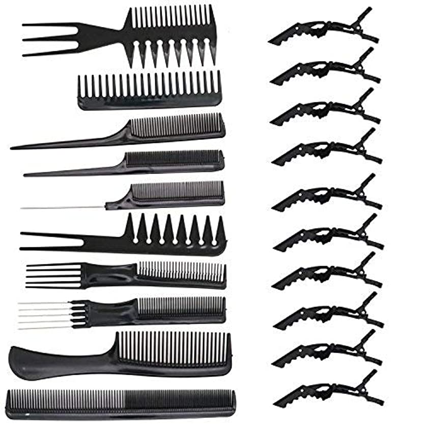 HUELE 10 Pcs Professional Hair Styling Comb with Styling Clips Hair Salon Styling Barbers Set Kit [並行輸入品]
