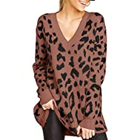Ashuai Womens Leopard Long Pullovers V Neck Loose Knitted Jumper Tunic Top Oversized Sweater Dress