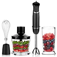 OXA Smart Powerful 4-in-1 Versatile Immersion Hand Blender Set 12-Speed(6X2) Control - Includes 500ml Food Chopper, Egg Whisk, and BPA-Free Beaker (600ml) - Black 141[並行輸入]
