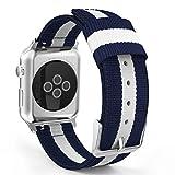 Apple Watch バンド - ATiC Apple Watch 38mm 2015 /Apple Watch 2 38mm(series 2 2016)用 編みナイロン製腕時計ストラップ/バンド/交換ベルト+バンドアダプター/交換ラグ Blue+White (42mmに対応ない)