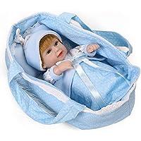 NPKDOLL Rebornベビー人形Hardシミュレーションシリコンビニール11インチ28 cm防水おもちゃ子ギフトSmall SleepingバスケットブルーBoy