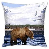 雪山 クマ 熊柄 抱き枕カバー クッションカバー 枕かばー ピローケース45×45cm 枕カバー おしゃれ のびのび枕カバー タオル地 吸湿速乾 防ダニ