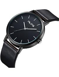 メンズユニセックスファッションシンプルウォッチ防水アナログクォーツ本革バンドのドレス腕時計