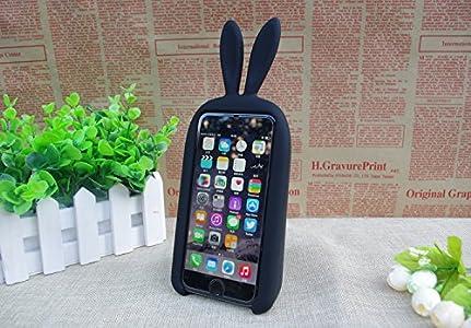 ORANGE IDEAL iPhone うさぎ かわいい スマホ ケース アイフォン 5 5S 5C 対応 ラビット スタンド カバー (ブラック)