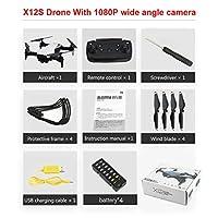 X12S 1080Pカメラ付き折りたたみ式ドローンHD HD 4軸オプティカルフローWiFi FPVドローンRC飛行機高度ホールドRCヘリコプター-ホワイト