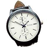 ZooooM クロノグラフ ラウンド デザイン アナログ 腕 時計 フェイク レザー ベルト ファッション アクセサリー フォーマル カジュアル ビジネス メンズ レディース 男性 女性 男 女 兼 用 (ホワイト) ZM-WATCH2-831-WH