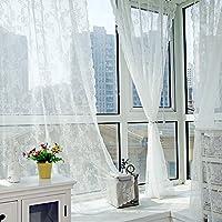 カーテン 昼間中から見えて外から見えにくい ミラーレースカーテン ロマンチック 多機能 夜も透けにくいミラーレースカーテン UVカット 1枚 145x180cm/100x200cm Broadroot (145cm*180cm, ホワイト)